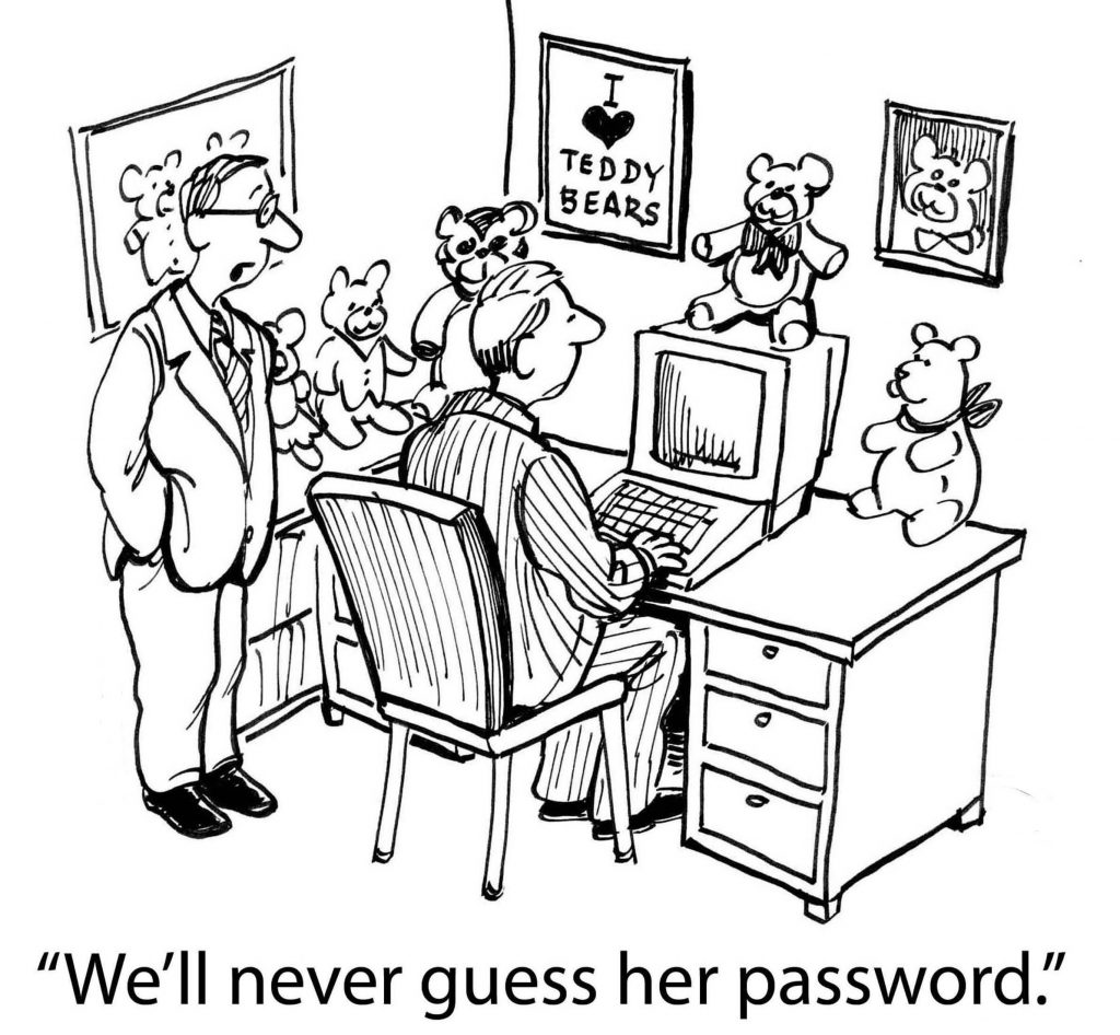 cartoon-businessmen-guessing-password-on-computer